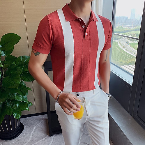 Short Sleeve Knitted Casual Polo Slim Lapel Silk T-Shirt Hit Color