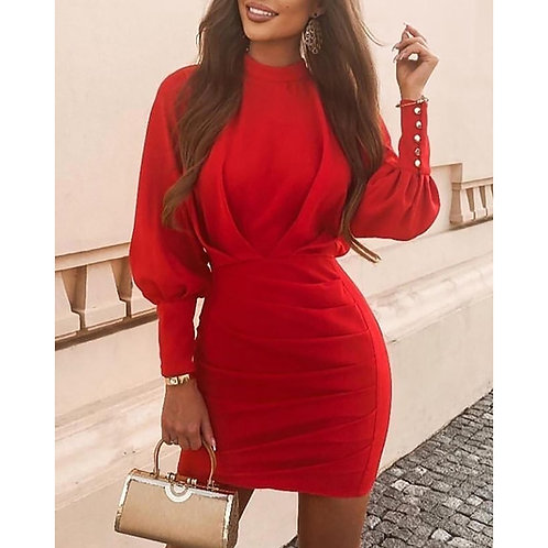 Dress Sleeve Casual Office Bodycon Slim Hollow Backless