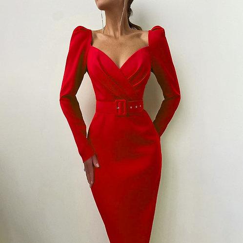 Elegant Dress Slim v Neck Long Sleeve Mid Calf