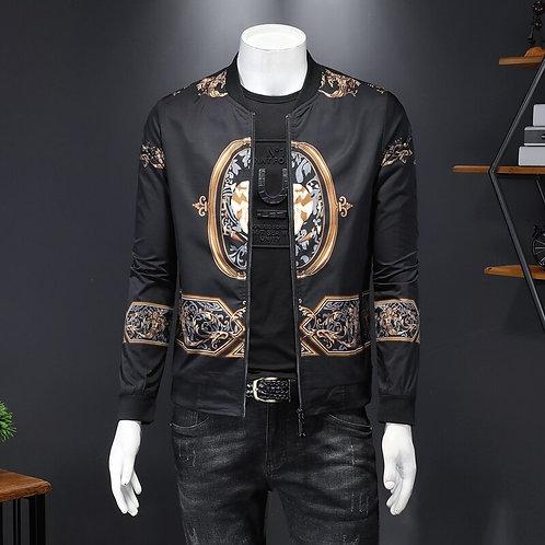 Vintage Jacket Men Luxury Print Bomber Windbreaker