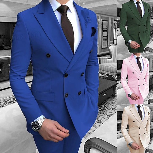 Suit Set Double Breasted Groom Slim Fit Formal Tuxedo Blazer With Pants