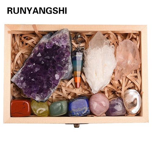 Divine 11pcs Natural Amethyst Cluster Quartz Crystal Mineral Healing Chakras