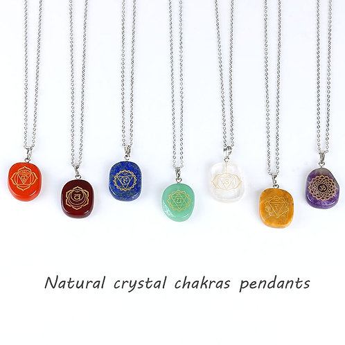 Divine Natural 7 Chakra Necklace Healing Crystal