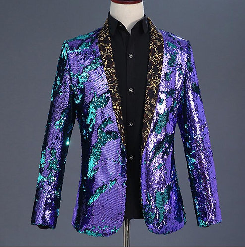 High Quality Flipping Sequins Slim Coat Stage Costume Evening Party Bar Singer