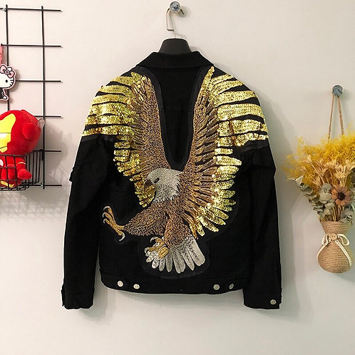 Unisex Denim Jacket 3D Eagle Print Sequined Nightclub Web Celebrity Chic Jacket