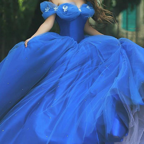 Royal Blue Organza Ball Gown Cinderella Quinceanera Dress