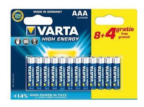 VARTA • Piles alcalines HIGH ENERGY LR03 AAA blister x 12  Référence :