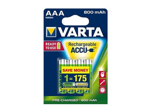 VARTA • Piles rechargeables HR 03 Accu R2U AAA 800 mAh blister x 4