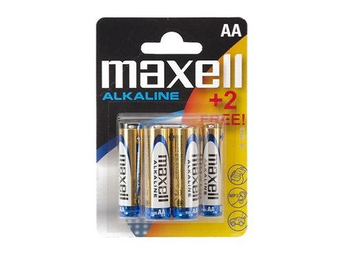 MAXELL • Piles alcalines blister de 4 piles + 2 gratuit AA