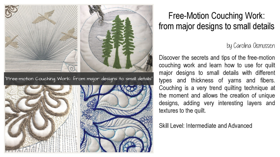 Free-Motion Couching Work: from major designs to small details