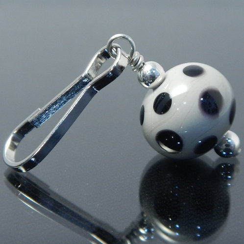 handmade zipper pull gray with black polka dots side view