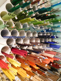 Colorful glass rods from Italy