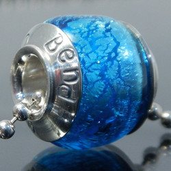 Silver Aqua Hand Stamped Bead