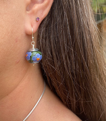 Dangly floral earrings lampwork glass and silver pmc