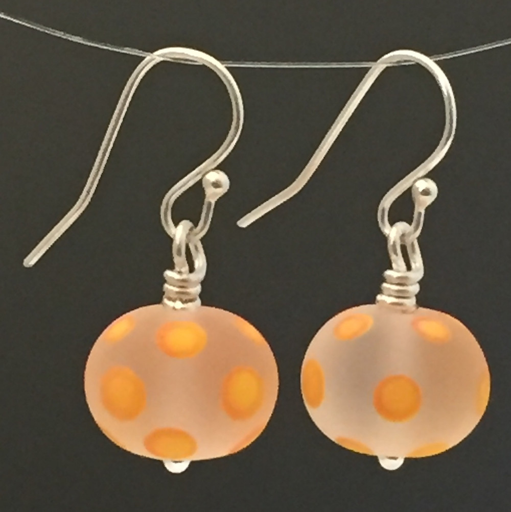 Etched glass polka dot earrings