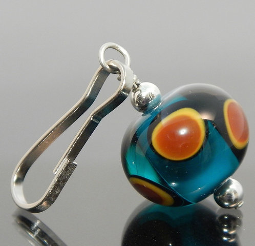 handmade zipper pull teal blue green brown black yellow side view