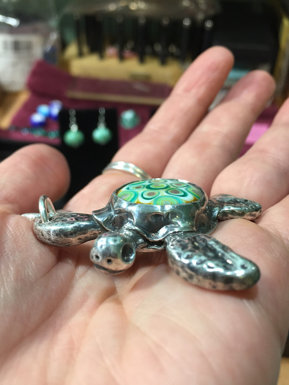 silver and glass sea turtle necklace