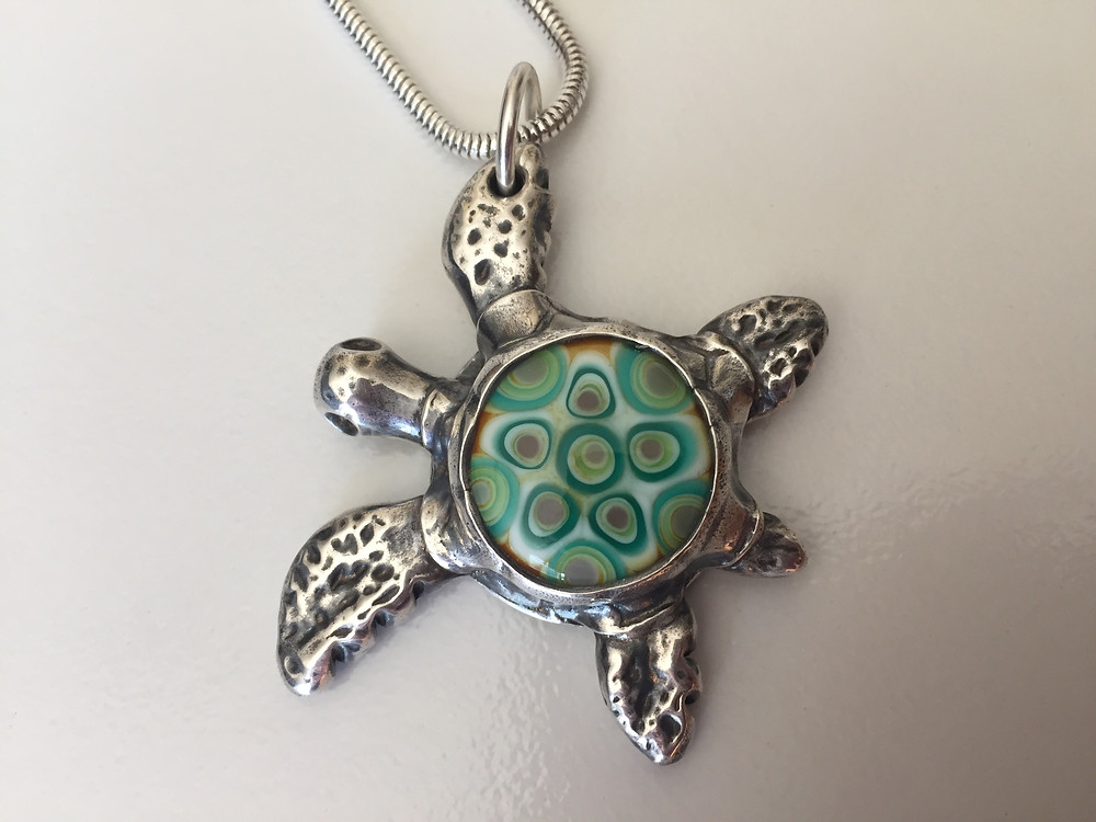 handmade glass and silver turtle necklace
