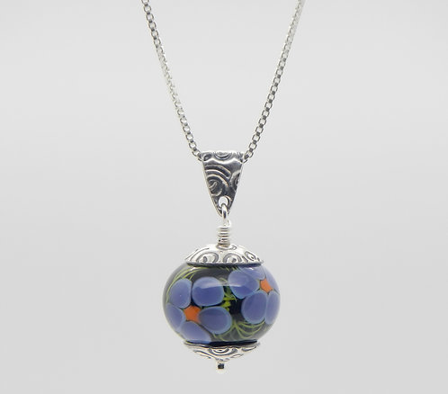 floral pendant lampwork glass and silver black, purple, green handmade in Bend, Oregon