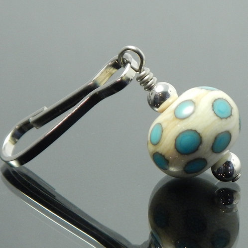 handmade zipper pull ivory with turquoise blue polka dots side view
