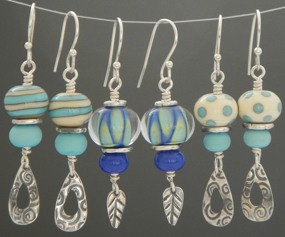 handmade lampwork glass and silver earrings by Larissa Spafford