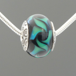 Swirl Bead in Aqua Blue