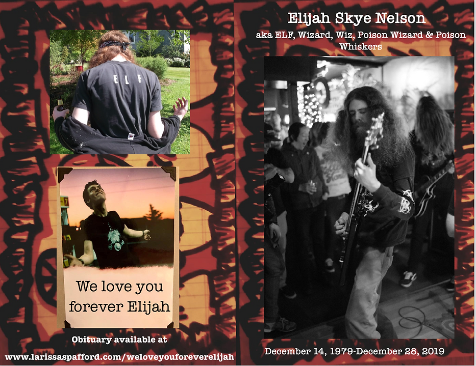 Elijah's memorial pamphlet front and bac
