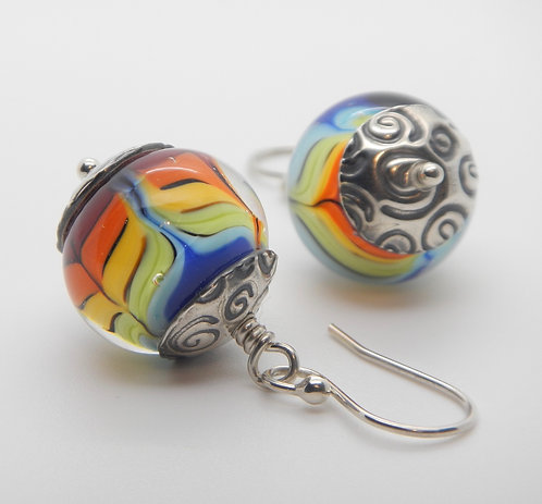Earrings | Rainbow & Silver with Spirals