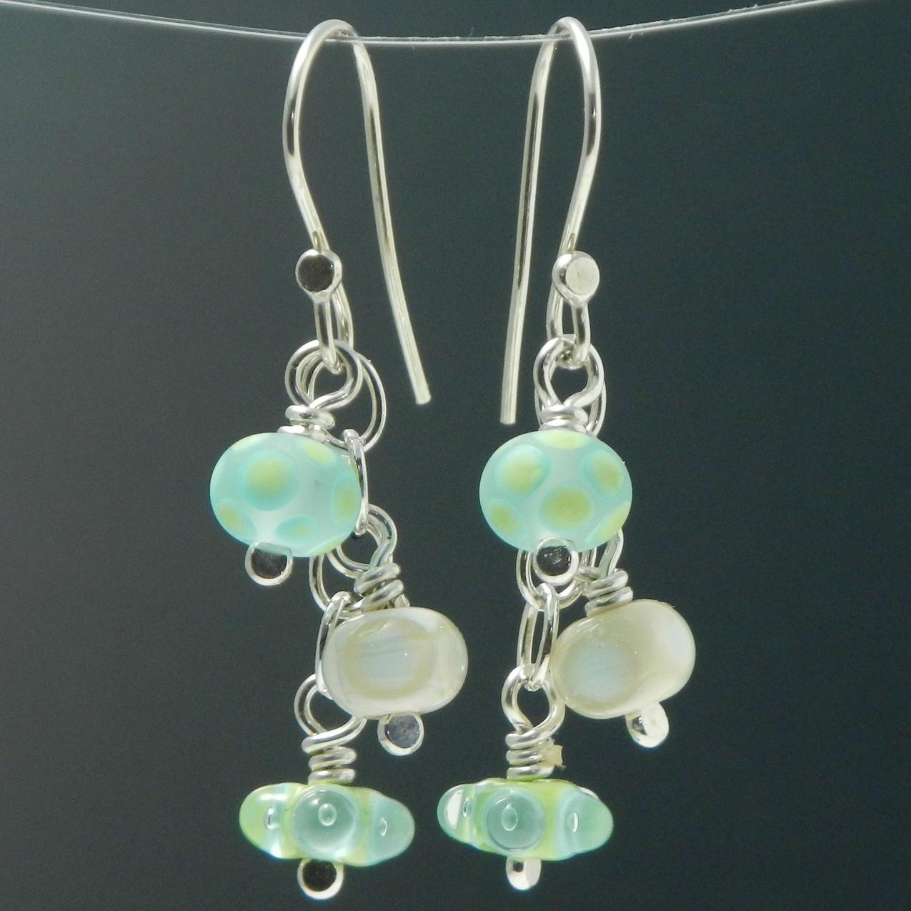 blue green ivory handmade earrings