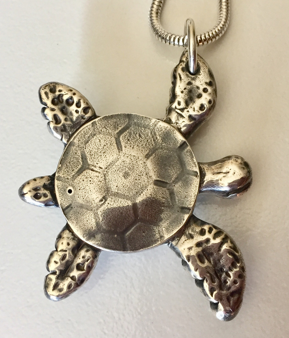 silver metal clay turtle