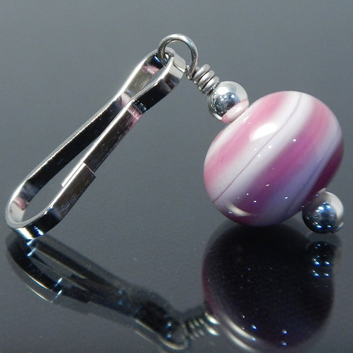 handmade zipper pull pink swirl side view
