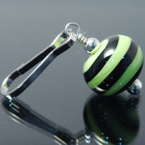 handmade zipper pull lime green with black swirl side view