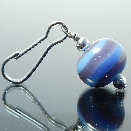 handmade zipper pull swirl purple side view