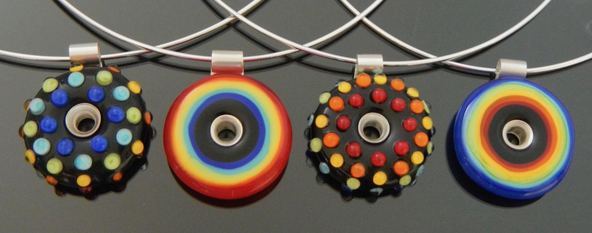Rainbow dots and circle pendants