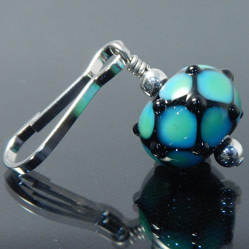 handmade zipper pull aqua blue green black side view