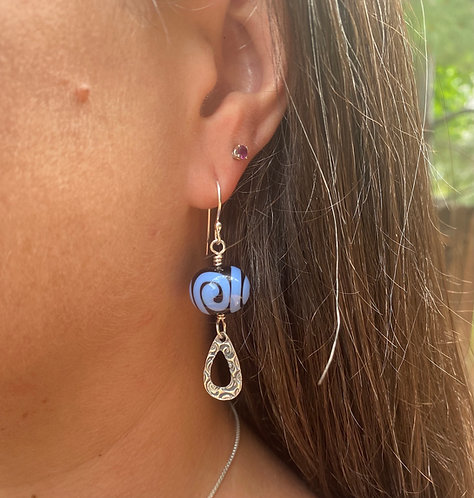 lampwork glass and silver earrings