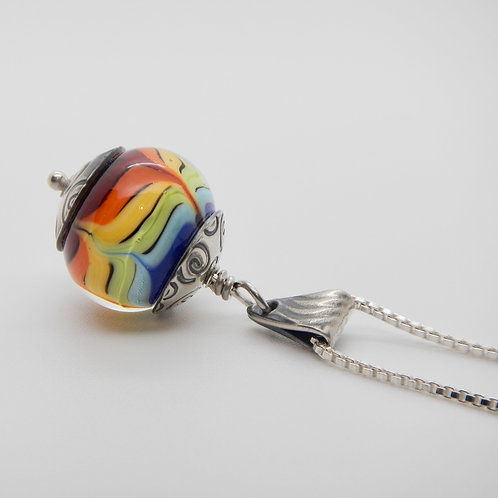 Necklace | Rainbow & Silver Pendant with Spirals