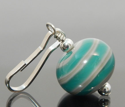handmade zipper pull swirl design teal and gray side view