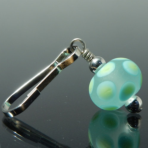 Zipper Pull   Etched Polka Dots   Turquoise Blue, Lime Green & Clear side view
