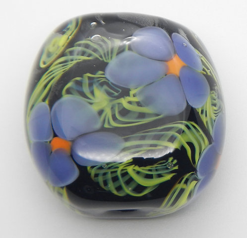 Large Focal Bead lampwork glass floral green, purple, black and coral handmade in Bend, Oregon
