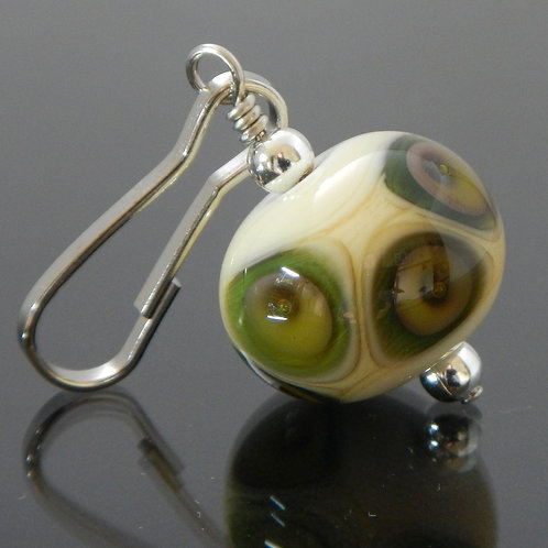 zipper pull alternating dots and bubbles ivory and green side view