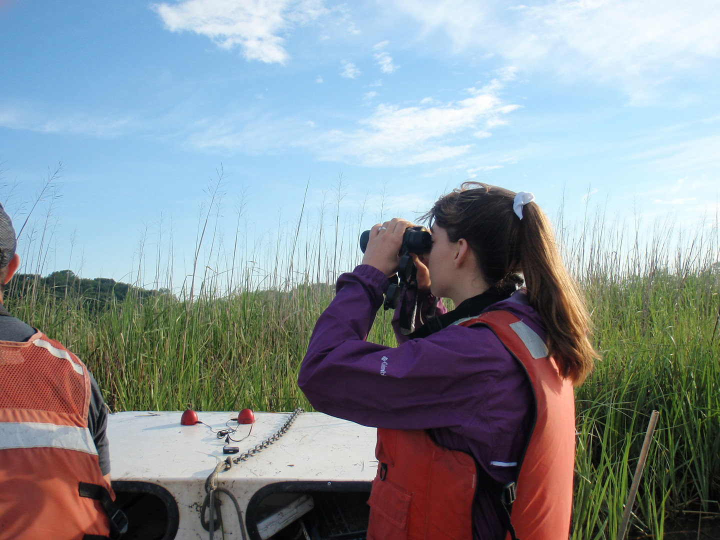 DNERR Intern using Bins during Marsh Bird Survey.JPG