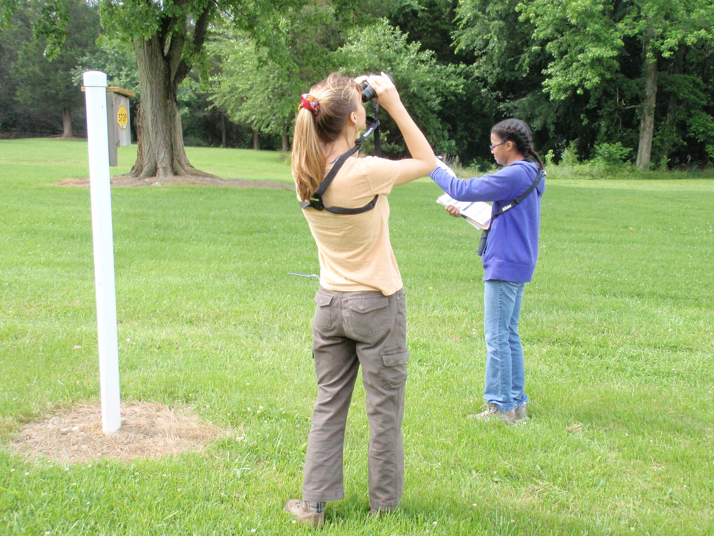 DNERR Interns Watching and Recording Bird Behavior.JPG