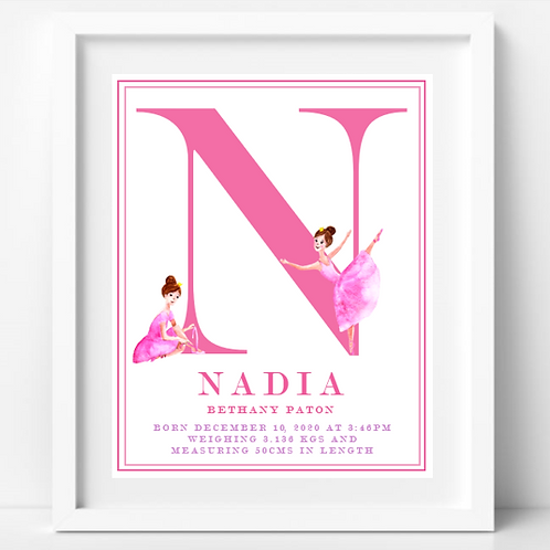 Ballerina Name Frame