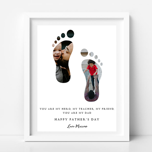 Father's Day Footsteps PhotoWord Frame