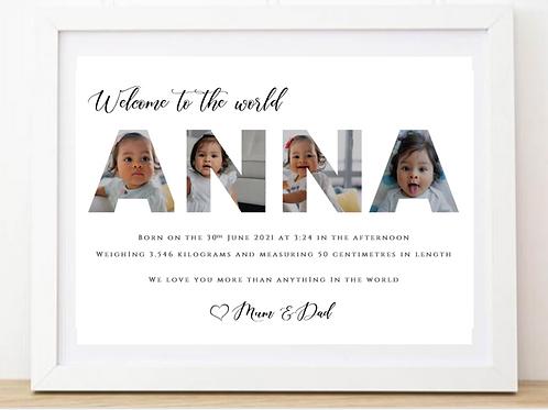 New Baby PhotoWord Frame