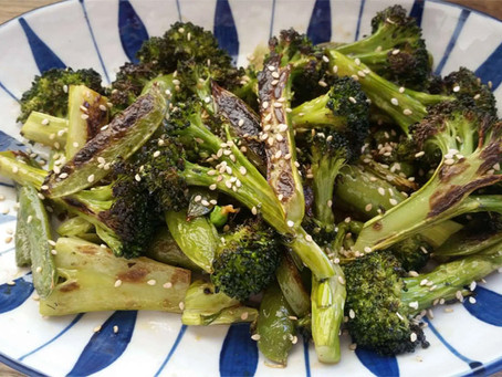 Roasted Broccoli and Snap peas with Toasted sesame Dressing