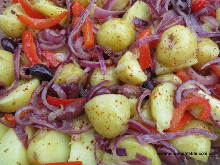 Roasted Potatoes, Red Bell Peppers, Onions and Jalapenos