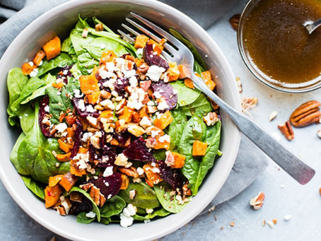 Roasted Beet Salad with Goat Cheese & Sweet Potatoes