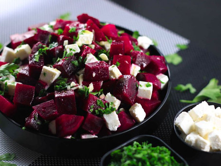 Salad of Cucumber, Red beets and Feta with Fresh Mint